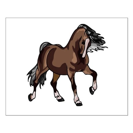 Spirited Horse Dark Brown Small Poster