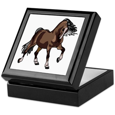 Spirited Horse Dark Brown Keepsake Box