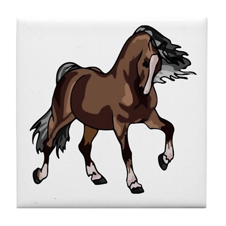 Spirited Horse Dark Brown Tile Coaster