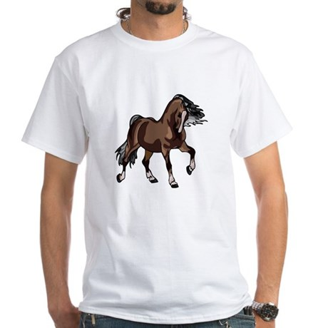 Spirited Horse Dark Brown White T-Shirt