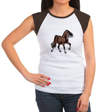 Spirited Horse Dark Brown Women's Cap Sleeve T-Shi