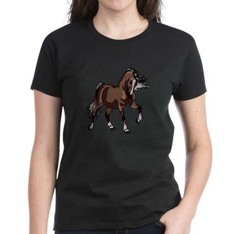 Spirited Horse Dark Brown Women's Dark T-Shirt