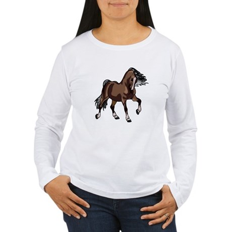 Spirited Horse Dark Brown Women's Long Sleeve T-Sh