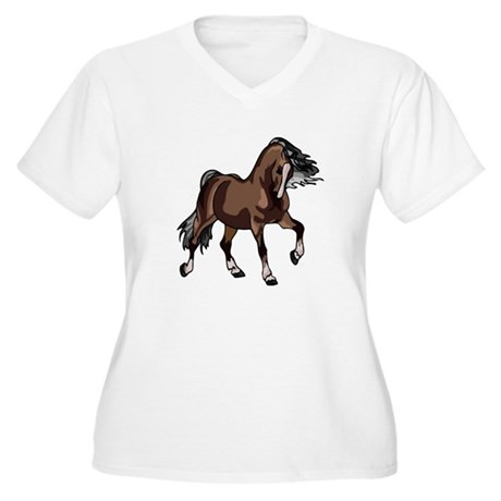Spirited Horse Dark Brown Women's Plus Size V-Neck