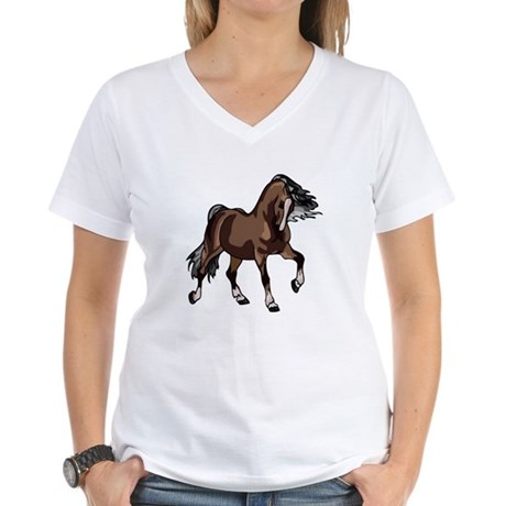 Spirited Horse Dark Brown Women's V-Neck T-Shirt