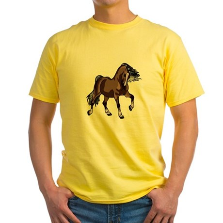 Spirited Horse Dark Brown Yellow T-Shirt