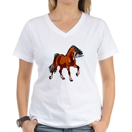 Spirited Horse Red Women's V-Neck T-Shirt