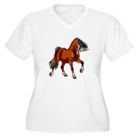 Spirited Horse Red Women's Plus Size V-Neck T-Shir