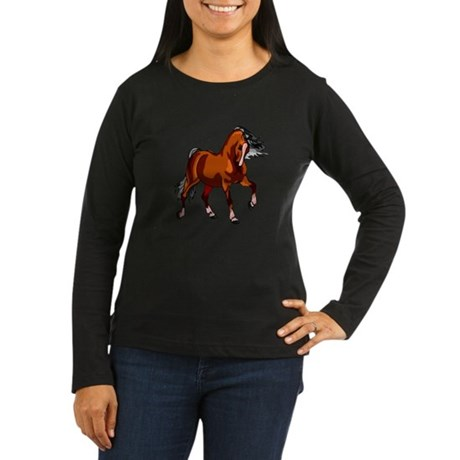 Spirited Horse Red Women's Long Sleeve Dark T-Shir