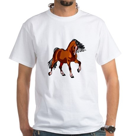 Spirited Horse Red White T-Shirt