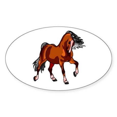 Spirited Horse Red Oval Sticker