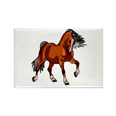 Spirited Horse Red Rectangle Magnet