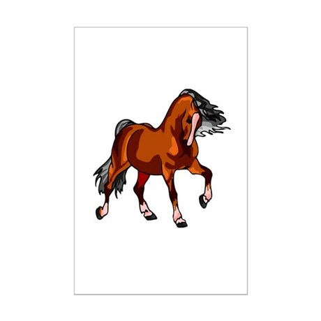 Spirited Horse Red Mini Poster Print