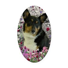 Sebastian the Welsh Corgi in Flowe Oval Car Magnet