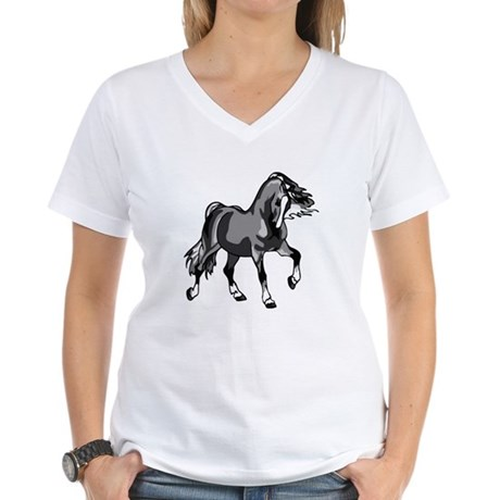 Spirited Horse Gray Women's V-Neck T-Shirt