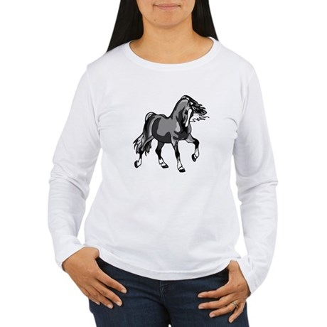 Spirited Horse Gray Women's Long Sleeve T-Shirt