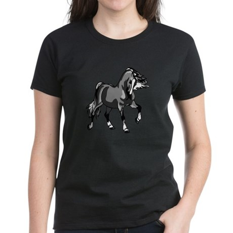 Spirited Horse Gray Women's Dark T-Shirt