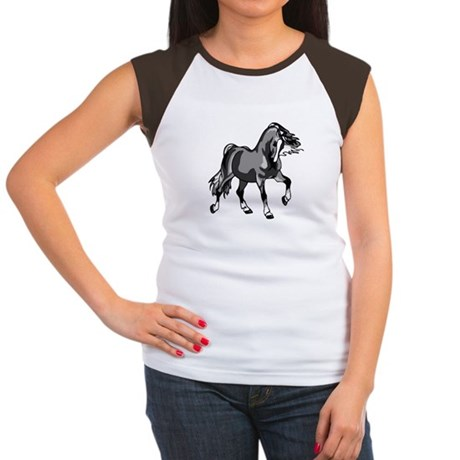Spirited Horse Gray Women's Cap Sleeve T-Shirt
