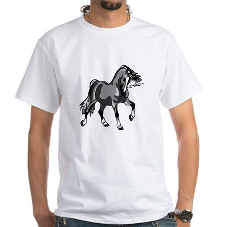 Spirited Horse Gray White T-Shirt