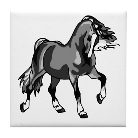 Spirited Horse Gray Tile Coaster