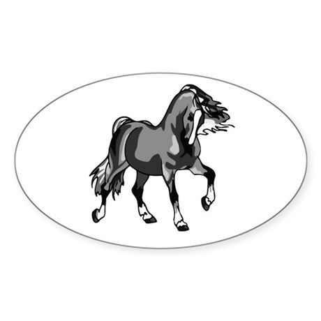 Spirited Horse Gray Oval Sticker