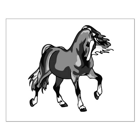 Spirited Horse Gray Small Poster