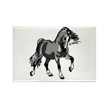 Spirited Horse Gray Rectangle Magnet (100 pack)