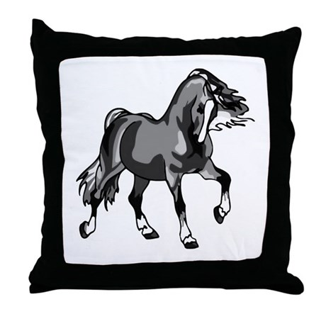 Spirited Horse Gray Throw Pillow