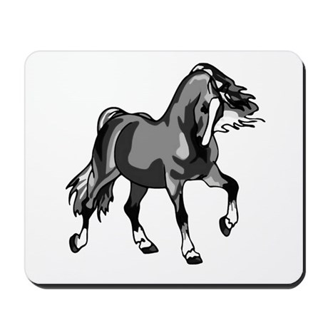 Spirited Horse Gray Mousepad