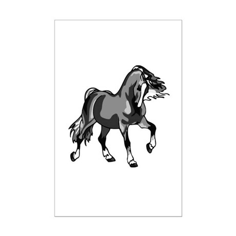 Spirited Horse Gray Mini Poster Print