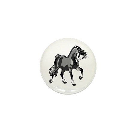 Spirited Horse Gray Mini Button