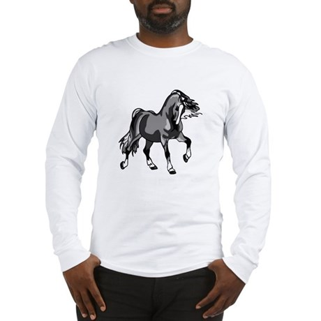 Spirited Horse Gray Long Sleeve T-Shirt