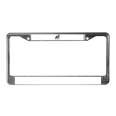 Spirited Horse Gray License Plate Frame
