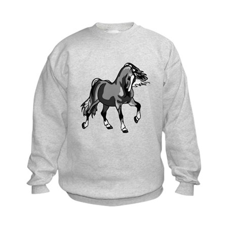 Spirited Horse Gray Kids Sweatshirt