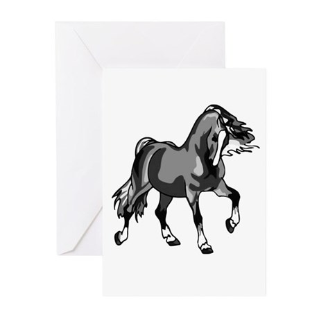 Spirited Horse Gray Greeting Cards (Pk of 10)