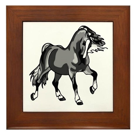 Spirited Horse Gray Framed Tile