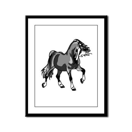 Spirited Horse Gray Framed Panel Print