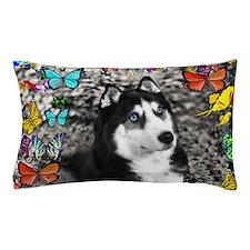 Irie the Siberian Husky in Butterflies Pillow Case