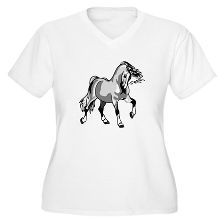 Spirited Horse White Women's Plus Size V-Neck T-Sh