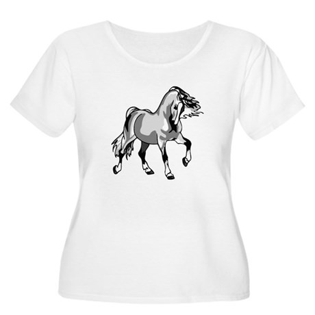 Spirited Horse White Women's Plus Size Scoop Neck