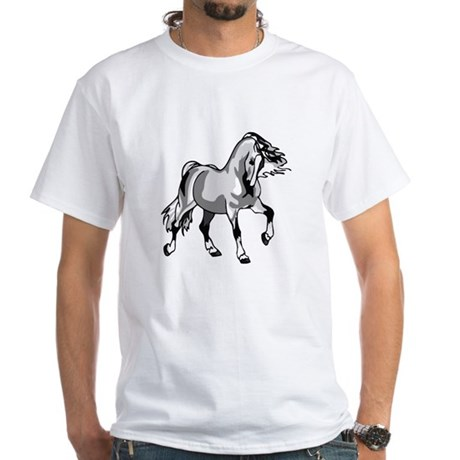 Spirited Horse White White T-Shirt