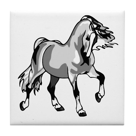 Spirited Horse White Tile Coaster