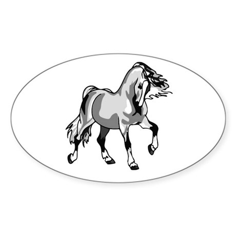 Spirited Horse White Oval Sticker