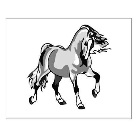 Spirited Horse White Small Poster