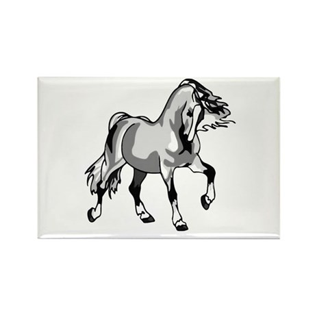 Spirited Horse White Rectangle Magnet (100 pack)