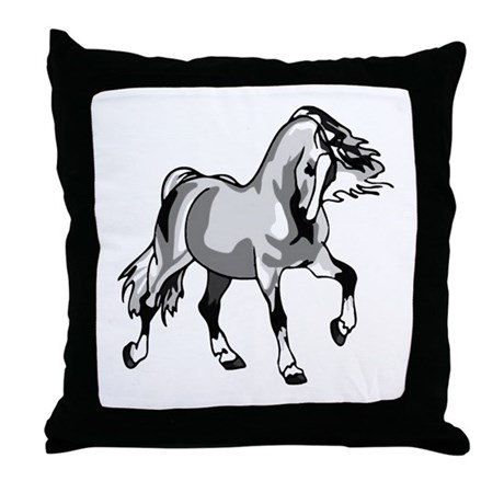 Spirited Horse White Throw Pillow