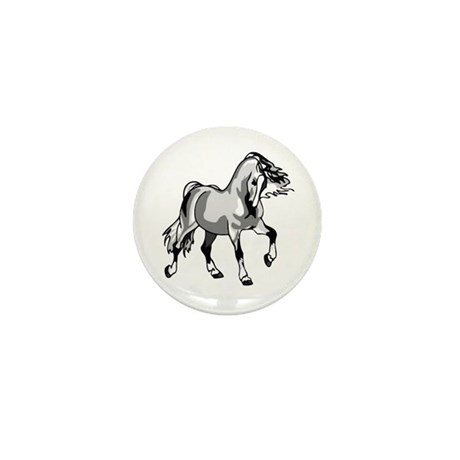 Spirited Horse White Mini Button