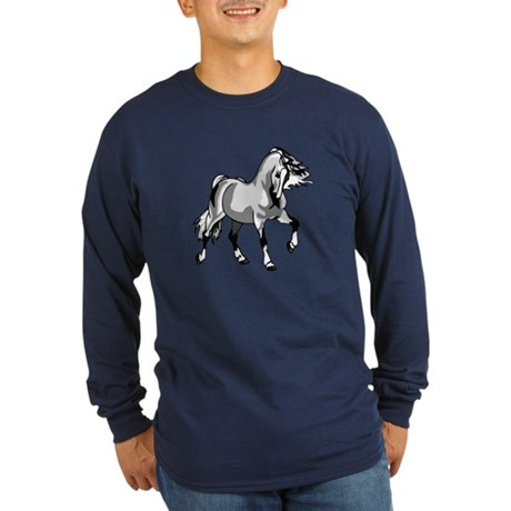Spirited Horse White Long Sleeve Dark T-Shirt