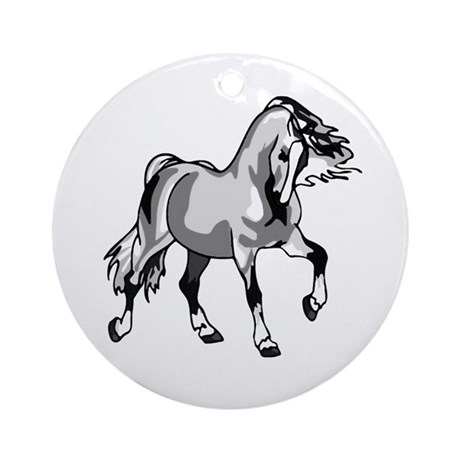 Spirited Horse White Ornament (Round)