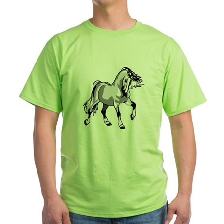 Spirited Horse White Green T-Shirt